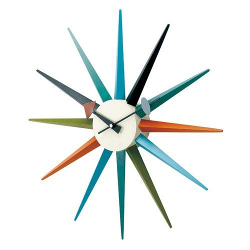 George Nelson Multi-Color 18.5 in. Sunburst Wall Clock - One of the most recognizable designs of the mid-century, the George Nelson Multi-Color 18.5 in. Sunburst Wall Clock is just as stylish today as...