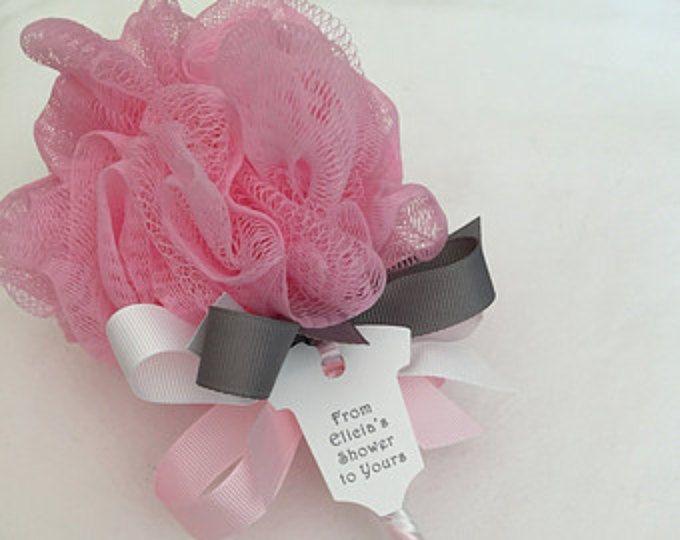 Salle de bain rose et gris Puff bébé hochet bébé Unique douche faveur