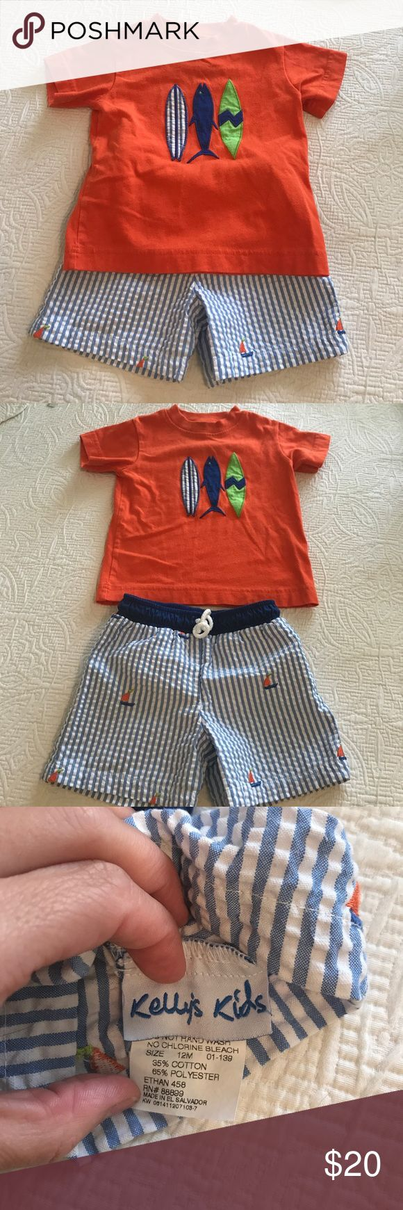 Kelly's Kids bathing suit and tshirt Adorable Kelly's Kids boy bathing suit bottom size 12 months and tshirt size 18 month set for sale! Gently used but in great condition. Kelly's Kids Swim Swim Trunks