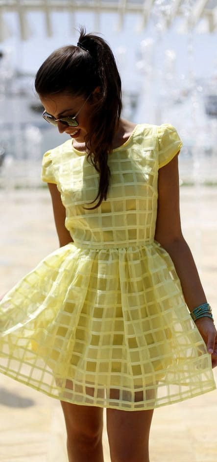 S Women S Fashion Yellow Dress