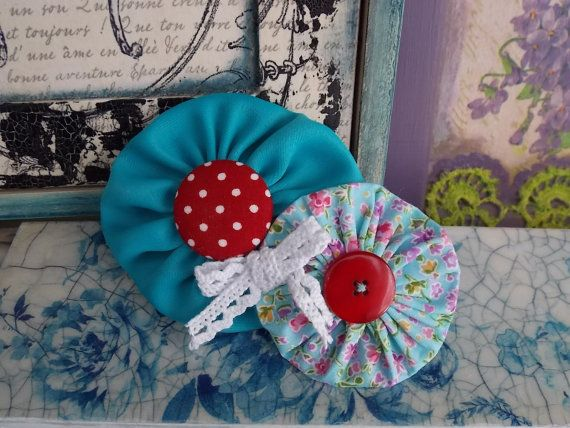 Handmade fabric flower brooch petrol blue yoyo by FromIrene, €8.00