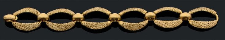 Attribué à GEORGES LENFANT Bracelet articulé en or jaune 18K tressé. Long: 20.5 cm env Pb: 56.71gr A yellow gold bracelet atributed to GEORGES LENFANT Length: 7.9 in Weight: 56.71grü - Aguttes - 14/12/2016