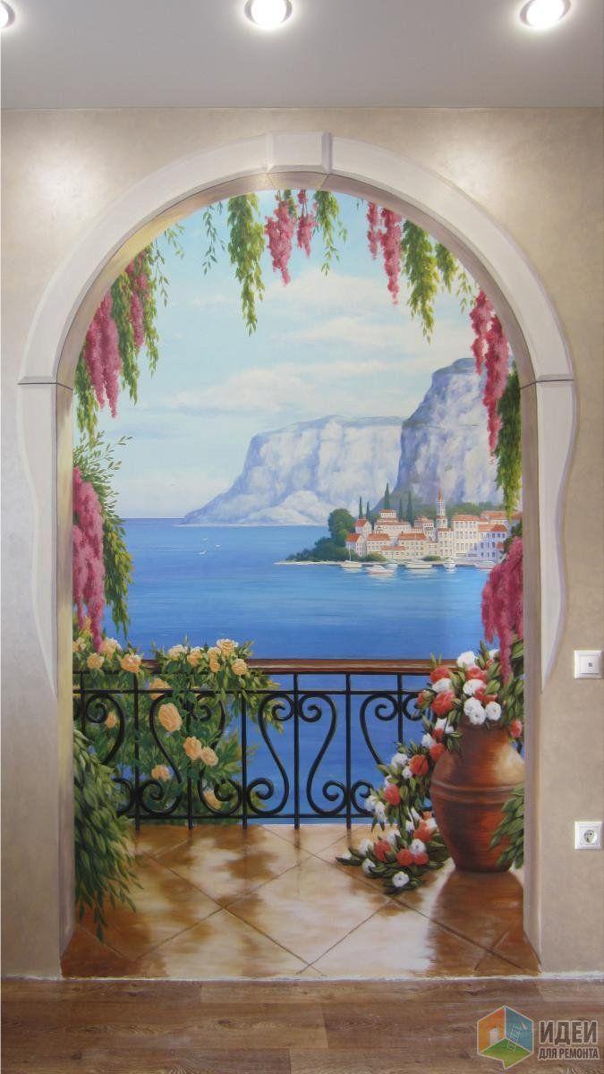 Роспись стены на кухне, художественная роспись в интерьере