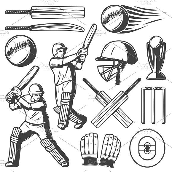 Vintage Cricket Elements Collection Sports Drawings Cricket Logo Drawing For Kids