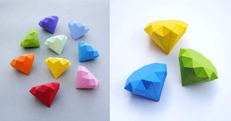 návod na Dárkové krabičky z papíru ve tvaru diamantu