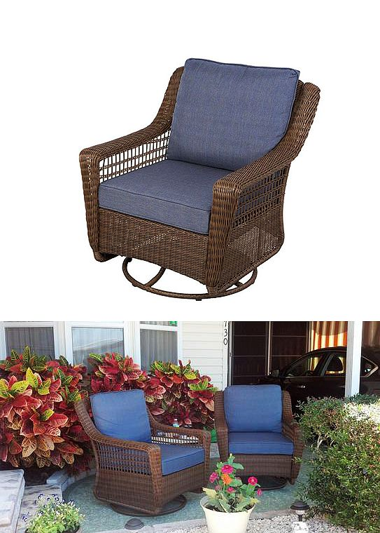 Hampton Bay Spring Haven Brown All Weather Wicker Patio Swivel Rocking Chair  With Sky Blue Cushions