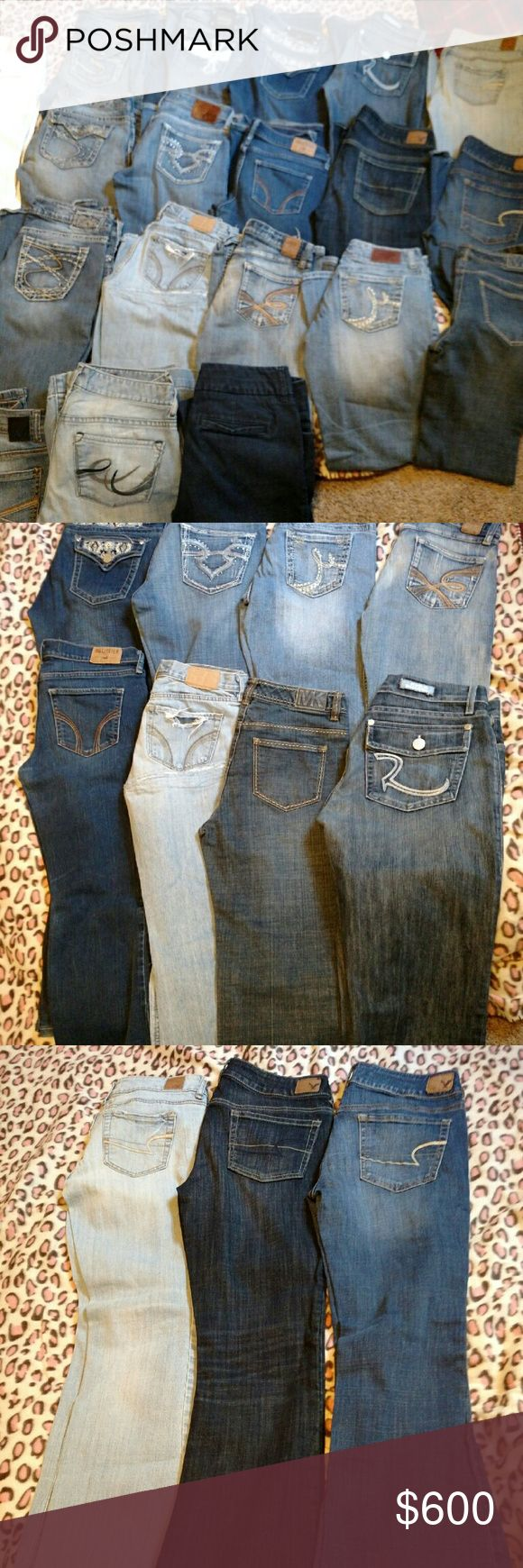 *HUGE 19 pair WOMEN JEAN LOT* (**3 Silver's & Big Star jeans , BKE, Vanity, Capris SOLD! **) HUGE lot of women jeans, all different name brands & sizes. All in good condition. White LA idol capris- size 7.W 30, L-18. Silver Suki Surplus. Size 29/32. Silver Frances 18' bootcut, size 29/31. Silver Pioneer bootcut, size 27/31. Vanity premium size 28/33. Express Stella fit n flare, size 4 R. Material girl, size 5 short court. AE artist stretch, size 6. The limited denim 678. Size 4. Will…
