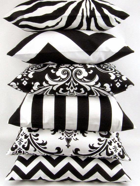 Ideias para uma decoração Black - almofadas estampas preto e branco