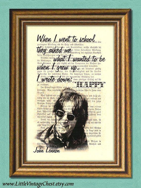 JOHN LENNON Beatles  HAPPY  Dictionary Art print by littlevintagechest, $7.99