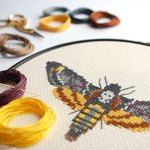 Image of Yellow Moth cross-stitch PDF pattern