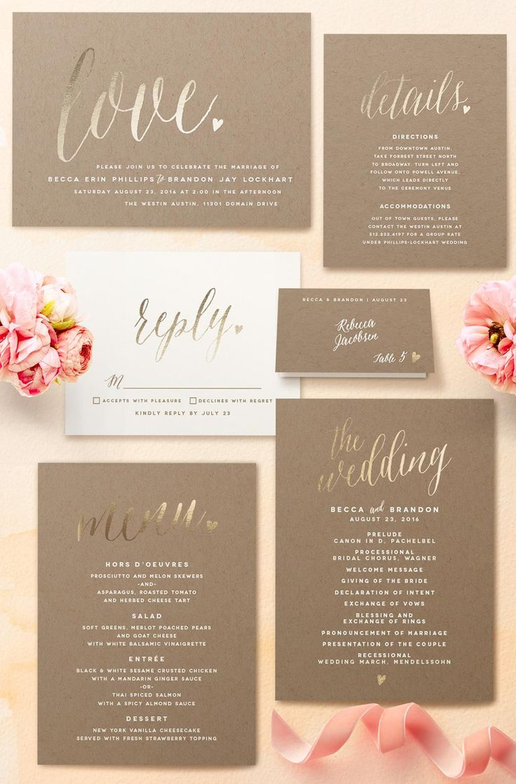 Uber romantic gold foil wedding invitations from