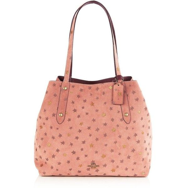 Coach Large Reversible Star Print Market Tote ($655) ❤ liked on Polyvore featuring bags, handbags, tote bags, pink, red handbags, red purse, coach tote bags, tote purses and coach tote