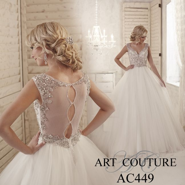 I butikk <3 ABELONE.NO <3  Tulle A-line Bridal gown with a v-neck beautifully rich encrusted bodice and illusion back with designer button feature. AC449 is available in Ivory or White. Call us or visit our facebook page to find your nearest retailer. #artcouture #eternitybridal #weddings #bigday #bridal #bridalgowns #gettingmarried #weddingfashion #weddingdress #fairytaledress #beadwork