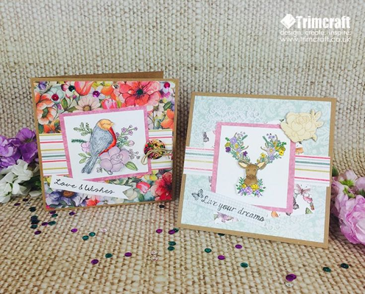 The Dovecraft Bohemian Clear Stamps make a striking feature to your cards; here we will show you how to make your own decoupage using stamps to layer onto your papercraft projects…
