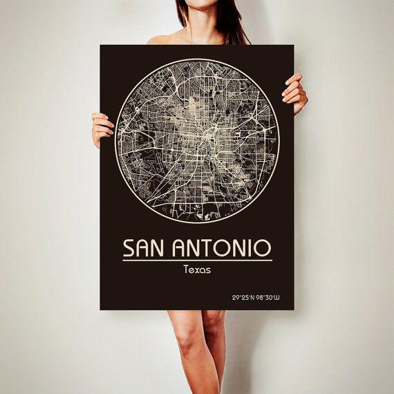 SAN ANTONIO Texas Map San Antonio Poster City Map by ArchTravel