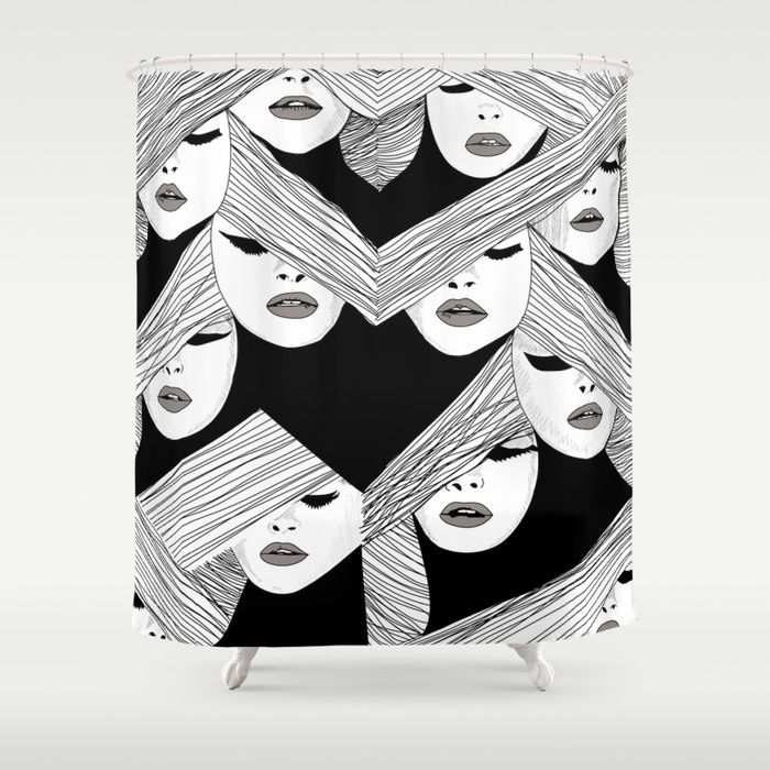 Audrey Hepburn pattern based in her Vogue cover.  #audrey #hepburn #pattern #illustration #black #white #society6 #pillow #showercurtains @society6  Stop neglecting bathroom decor - our designer Shower Curtains bring a fresh new feel to an overlooked space. Hookless and extra long.