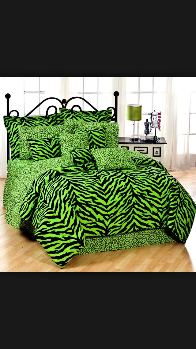 Tomboy girls here is a green zebra print comforter for Girl zebra bedroom ideas