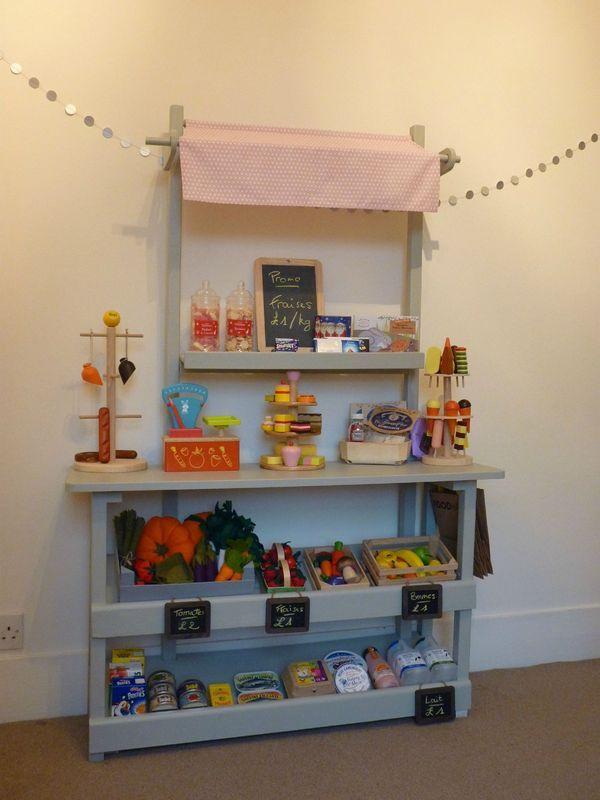 Filapi mesures pour construire son stand de marchande for kids pinterest - Construire une etagere ...