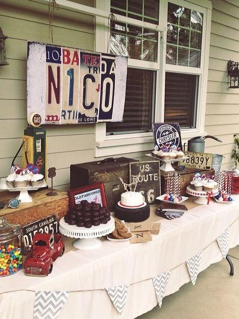 Nico's garage birthday party...vintage truck theme.
