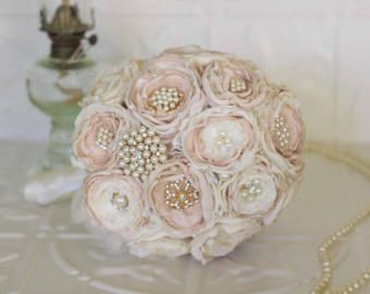 Vintage Inspired Brooch Wedding Bouquet, Blush Pink and Ivory, Satin, chiffon and Lace Bouquet