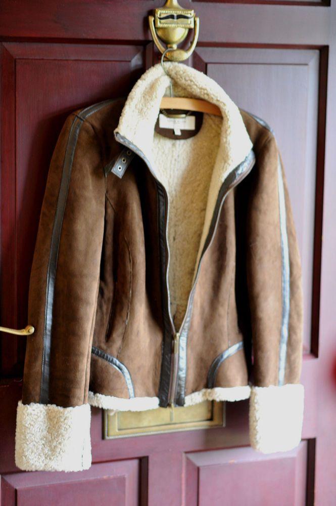 d4a98894b4 KAREN MILLEN Soft Suede, leather piped Sheepskin Jacket DARK Brown Size 10  UK