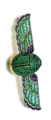 19th Century French Egyptian Revival Plique-A-Jour Enamel Scarab Brooch