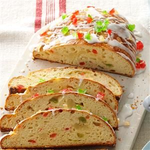 Almond-Filled Stollen Recipe -I've been making this during the holiday season for nearly 50 years. When we flew to Alaska one year to spend Christmas with our daughter's family, I carried my stollen on the plane!—Rachel Seel, Abbotsford, British Columbia