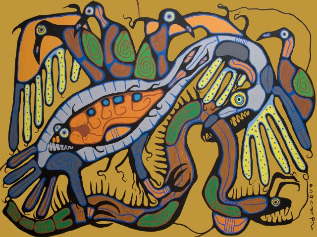 "This amazing painting by Canadian artist Norval Morrisseau was sold to the National Gallery of Canada in 2010. The painting intitled ""Conquest of the Thunderbird"" was painted in Victoria B.C. in 1982. To see more work by Norval Morrisseau go to www.steffichfineart.com"