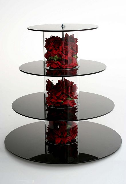 Black cupcake stand with silk roses by Bake Me - Im Yours, via Flickr