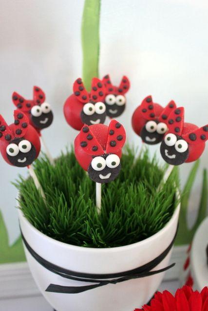 Cake pops at a Ladybug Party #ladybug #cakepops