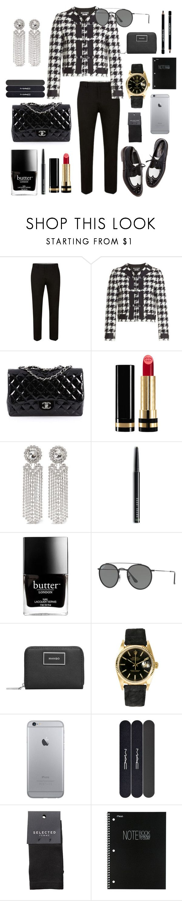 """pinky swear ?"" by romydveen ❤ liked on Polyvore featuring Boutique Moschino, Chanel, Gucci, Alessandra Rich, Bobbi Brown Cosmetics, Butter London, Ray-Ban, MANGO, Rolex and MAC Cosmetics"