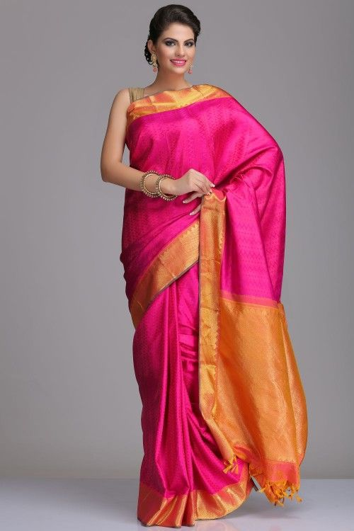 Self-Patterned Purple Kanjivaram Pure Silk Saree With Gold Border And Pallu With Real Zari
