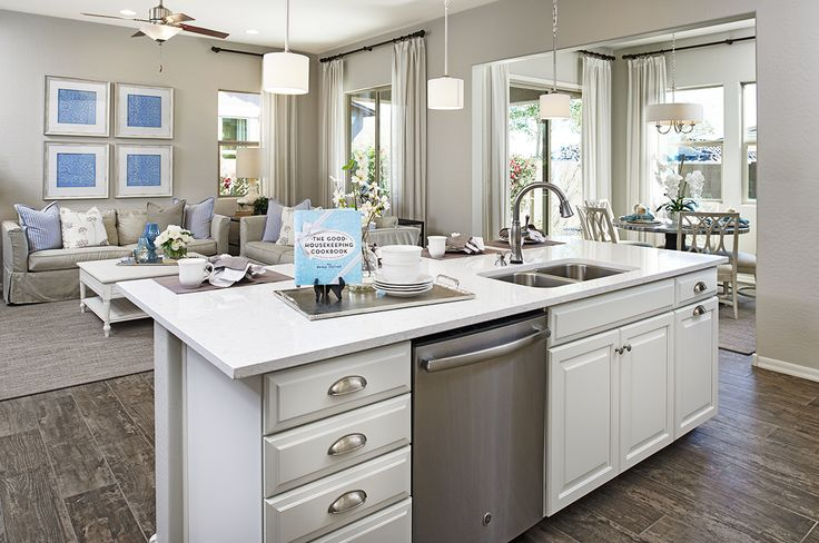 Storage, seating, sink—is there anything this kitchen island can't do? | Allman model home | Mesa, Arizona | Richmond American Homes