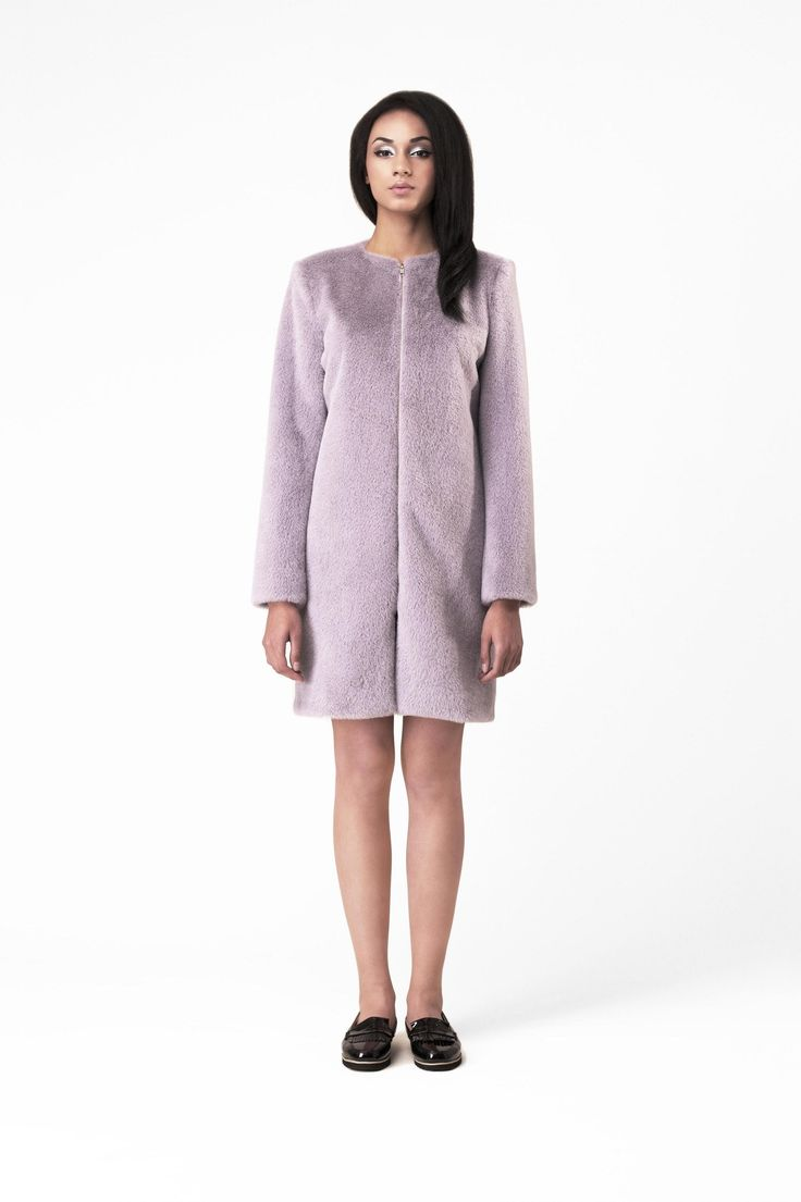 Pastel-grey faux fur coat 0