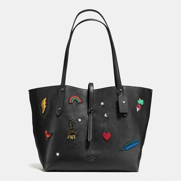 Coach Market Tote ($297) ❤ liked on Polyvore featuring bags, handbags, tote bags, genuine leather tote bag, leather tote, genuine leather handbags, leather handbag tote and leather tote purse