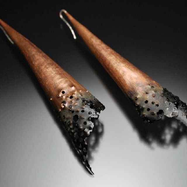Cone Earrings - Forged Copper (Joe Anglim Jewelry)