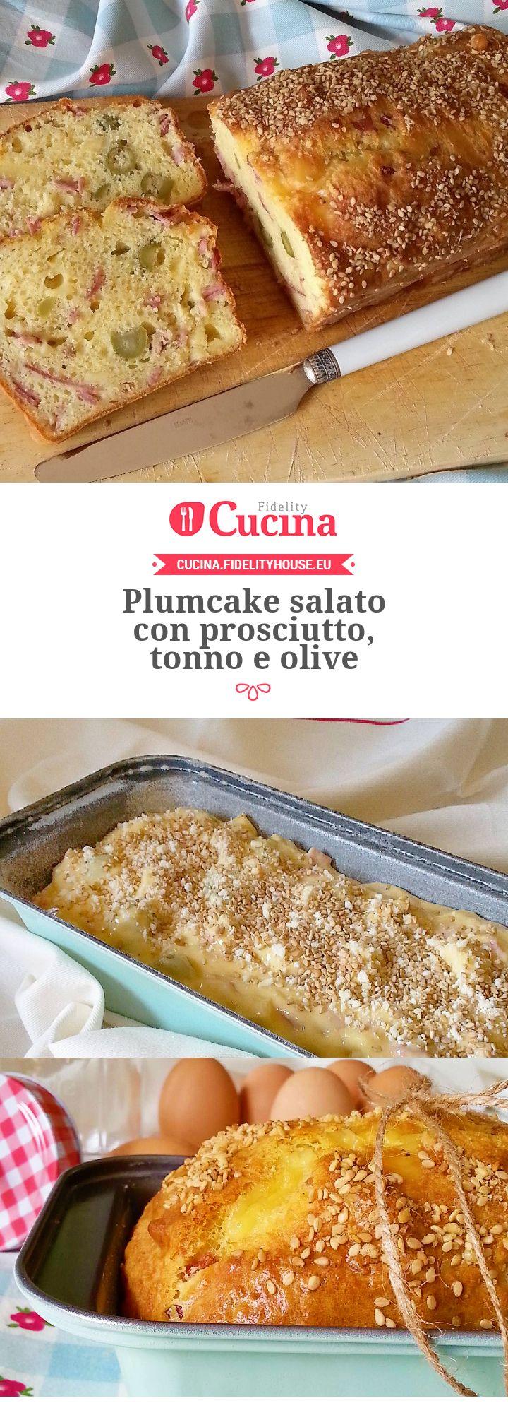 Plumcake salato con prosciutto, tonno e olive