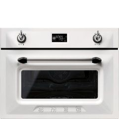 Smeg SF4920VCB Piekarnik elektryczny z funkcją pary, wysokość: 45 cm, klasa A+, duży i przejrzysty wyświetlacz LCD, czyszczenie parowe, zawiasy Silent Close, pojemność netto: 41 l