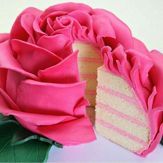 Bom Dia com esse bolo lindo de rosa by @cakestyle_  #bolododia #cakeoftheday…