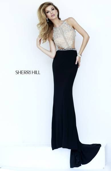 "SHERRI HILL Prom Dresses 2015  # 32069 Scrolls of pearls and rhinestones accent the nude bodice of this mock two piece including the stunning ""T"" back. Matte jersey column skirt sweeps the floor for an added elegance."