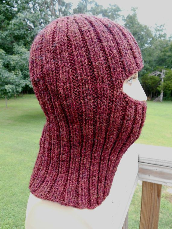 Hand Knit Balaclava Full Face Mask Chestnut Heather by AspenLeaves                                                                                                                                                                                 Más