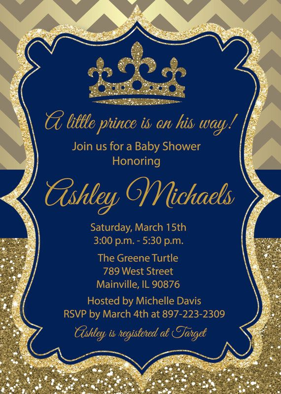 Prince Gold Blue Glitter Royal Baby Shower by PrettyPaperPixels