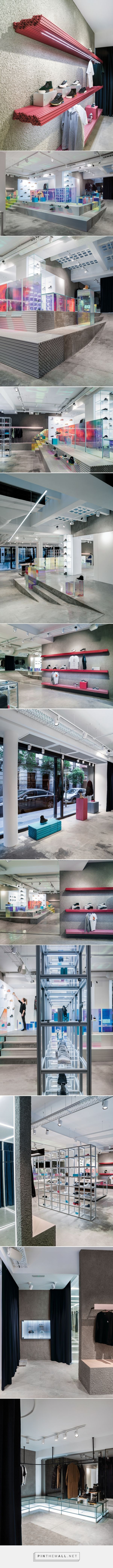 aluminium extrusion redefines a sneakers store in madrid, by A.P.O. - created via https://pinthemall.net