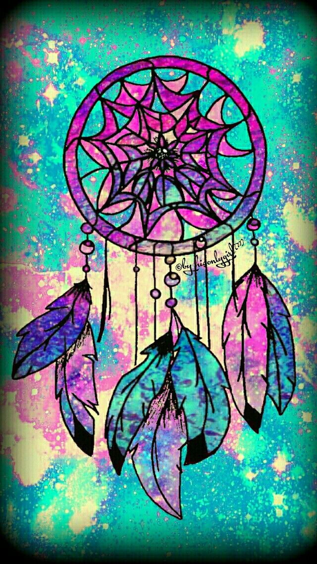 Tribal vignette dreamcatcher galaxy iPhone/Android wallpaper I created for the app CocoPPa.