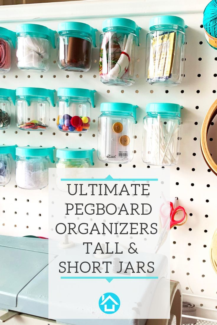 Pegboard Jars Perfect For Organizing Your Craft Room Or Garage Set Of 12 Blue Pegboard Craft Room Craft Room Peg Board