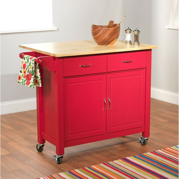 Exceptional Red Mobile Kitchen Cart | Overstock.com Shopping   The Best Deals On Kitchen  Carts