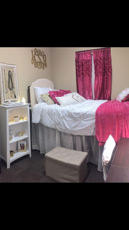 pink white  gold dorm room presidential village