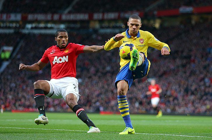 Credit: Dave Thompson/PA Arsenal's Kieran Gibbs controls the ball in front of Manchester United's Antonio Valencia