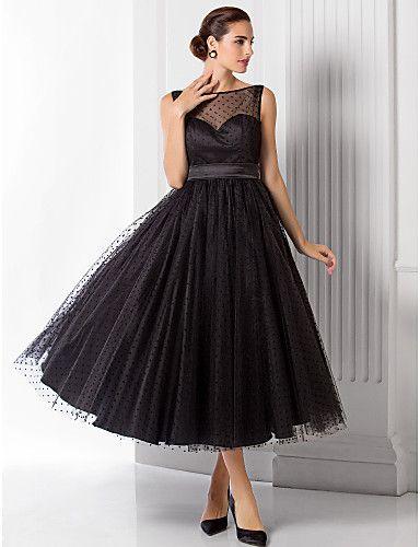 A-line/Princess Bateau Tea-length Tulle Evening Dress