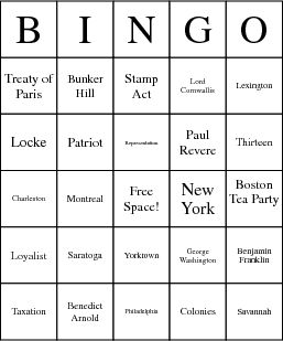 American Revolution bingo game-cool